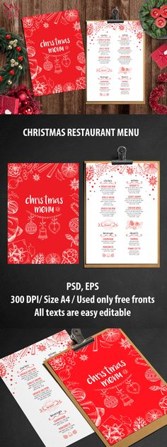 Retro christmas menu template in cardboard style Free Vector - bar menu template