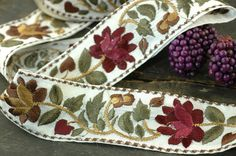 Bountiful / Sage Berry White Fall Floral Trim by WomanShopsWorld, $8.25