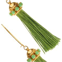DIY green hemp tassels pair with green Czech glass cup chain and gold plated findings in these pretty boutique-style earrings. Tassel Jewelry, Seed Bead Jewelry, Gemstone Jewelry, Beaded Jewelry, Jewelery, Seed Beads, Beading Projects, Beading Tutorials, Diy Earrings Tutorial