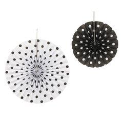 6 BLACK & WHITE POLKA DOT Paper Hanging Fans Wedding Decoration Tissue Lantern