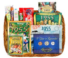 Birthday or Anniversary Gift Basket with Coins for 1955 Anniversary Gift Baskets, 60th Anniversary Parties, 60 Wedding Anniversary, Birthday Gift Baskets, Anniversary Gifts For Parents, 60th Birthday Gifts, Adult Birthday Party, Mom Birthday, Birthday Ideas