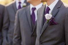 elegant violet ties for the groom & his men - via katelynjamesblog.com