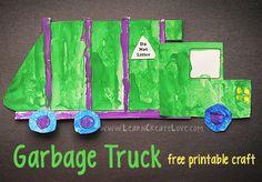 Garbage Truck Printable Craft | LearnCreateLove.com