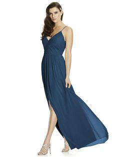 ec63c8f43fb Dessy Bridesmaid Dress 2989 in sofia blue. Full length lux chiffon dress w   shirred