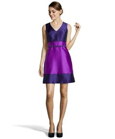 Ivy & Blu - purple woven colorblock belted fit and flare dress