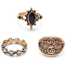 Bronze Rhinestone Design Vintage Ring Set ($6) ❤ liked on Polyvore featuring jewelry, rings, vintage jewellery, vintage rhinestone jewelry, rhinestone jewelry, vintage rings and rhinestone rings