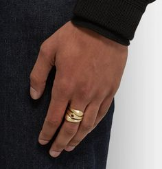 Gold Stack 2 Set of Three Brushed Gold Rings Jewelry Rings, Fine Jewelry, Jewellery, Drawstring Pouch, 2 Set, Fashion Advice, Gold Rings, 18th, Rings For Men