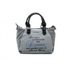 "LE #PANDORINE - Borsa MINI LUREX ""Donna..."" in felpa - Grigio - Elsa-boutique.it <3"