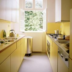small kitchen with yellow paint