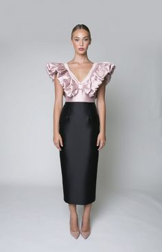 Shell: Silk, Wool Lining: Polyester V neckline with bow detail Half bow detailing on straps Wide banded waist seam Midi pencil skirt with back slit Concealed back zip… Mermaid Skirt, Mermaid Gown, Fitted Bodice, Ladies Dress Design, Blouse Designs, Fashion Dresses, Women's Fashion, Dress Skirt, Designer Dresses