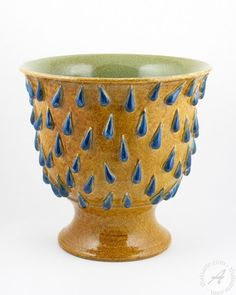 """Italian ceramics footed planter """"blue drops"""" 