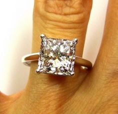 Huge...4.10ct Square Princess Cut VINTAGE by TreasurlybyDima