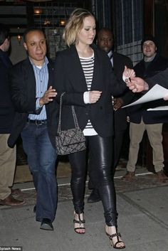Jennifer Lawrence wearing T by Alexander Wang Striped Jersey Top and Givenchy Mirtilla Chain Link T-Strap Sandals