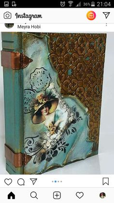 Altered Books, Altered Art, Recycled Wine Bottles, Cool Journals, Decoupage Art, Paper Embroidery, Altered Bottles, Magic Book, Painted Boxes