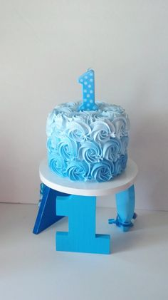 Boys Blue Ombre First Birthday Fake Smash by FakeCupcakeCreations                                                                                                                                                                                 More