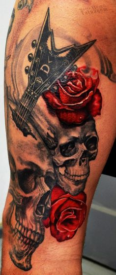 Skulls, Roses and Flying V tattoo