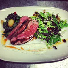 #TGPL Roasted New York Strip Steak, Potatoes, Swiss Chard, Horseradish Cream, Salad W/ Raisins & Sunflower Seeds