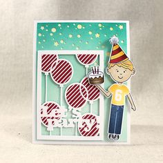 Let's Party Card by Lizzie Jones for Papertrey Ink (January 2017)