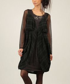 Love this Anthracite Plaid Embroidered Scoop Neck Dress by Angels Never Die on #zulily! #zulilyfinds