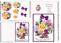 basket of roses get well on Craftsuprint designed by Terri Hawley - This mini kit is a full 3D card, the card front, the insert with words, and the decoupage parts all in one, very easy to make.The words sayThese roses represent hugs and kisses.And to tell you we are thinking of youwhile you are sick,and to hope you get well really really soon. when finished it fits nicely into any A5 envelope. - Now available for download!