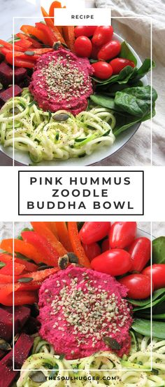 beet hummus | pink hummus | buddha bowl | zucchini noodle | zoodle | vegan recipe | healthy snack | healthy recipe | plant-based nutrition | vegan diet | plant-based recipe | easy recipe | healthy eating | vegetarian diet | vegetarian recipe | #vegan #buddhabowl #pinkhummus #beethummus