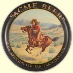 Vintage cowgirl beer tray