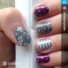 """Very cool combination!  I love this!  #jamberrynails #pinterestmanicure  #diynails #nailart #modernmani  #metallicmani  #Repost @jamberrynails ・・・ We're…"""