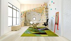 A climbing wall in the home that still looks good.