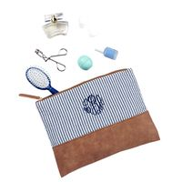 Monogrammed Navy Seersucker Zip Pouch with Navy Thread and Master Circle Font