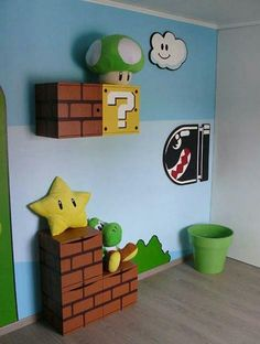 Mario Themed Wall Idea #DIY *no instructions link OMG IM GONNA MAKE MY ROOM LOOK LIKE THIS I WILL !!!!