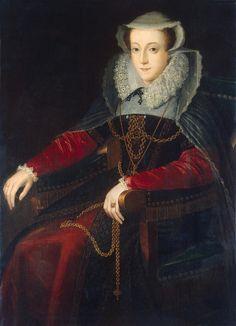 Mary Stuart, Queen of Scotland, cousin to Edward VI, Mary I, and Elizabeth I (Roman Catholic claimant to England's throne). Mary Queen Of Scots, Queen Mary, Baby Queen, Mary Stuart, Elizabeth I, Tudor History, British History, Historical Costume, Historical Clothing