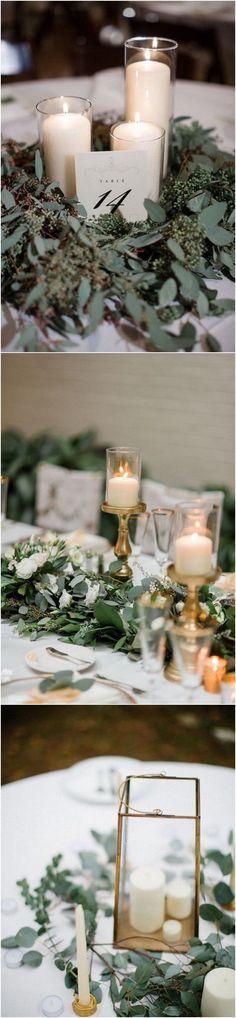 greenery wedding centerpieces with candles 2 #weddingtrends #weddingideas #weddingdecor #weddingcenterpiece #greenerywedding
