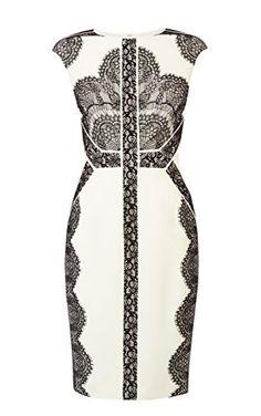 Placed lace pencil dress