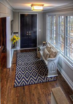 Dark stain interior doors with white trim