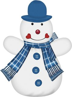 CHRISTMAS SNOWMAN IN BLUE CLIP ART