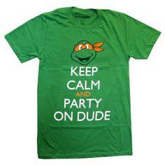 eBay | Teenage Mutant Ninja Turtles Michelangelo Keep Calm And Party Adult T-Shirt