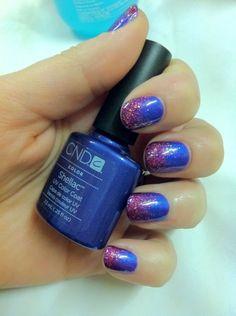 Brush up and Polish up!: CND Shellac Nail Art - Purple Purple & Glitter Fade @ The Beauty ThesisThe Beauty Thesis