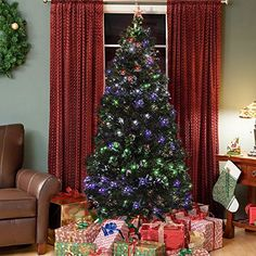 Best Choice Products PreLit Fiber Optic 7 Green Artificial Christmas Tree with LED Multicolor Lights and Stand * Check out the image by visiting the link.