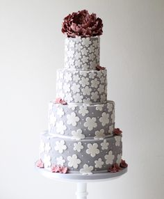 Grey wedding cake with floral details