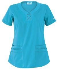 Butter-Soft Scrubs by UA™ Solid Lace-Up Neck Scrub Top Scrub Tops, African Dress, Lace Up, Stylish, Mens Tops, Jackets, Nurse Scrubs, Shopping, Medical Assistant