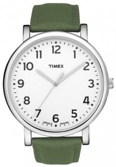 Relógio Timex Unisex Classic Style Big White INDIGLO Dial Green Leather Strap Watch T2N476 #Relógio #Timex