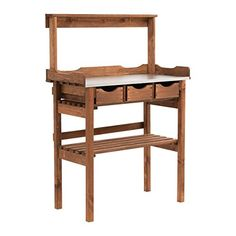 Garden Potting Bench Station Brown Drawers Hooks Pine Wood Table Metal Worktop for sale online Potting Station, Potting Tables, Plant Table, Garden Table And Chairs, Plant Shelves, Galvanized Metal, Plantation, Wooden Shelves, Gardens