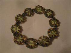 Bracelet Czech cut glass & crystal in shades of green by las81101