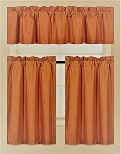 GorgeousHomeLinen (K3) 3 PC Kitchen Window Valance Tier Curtain Faux Silk Panels Lined Thermal Room Darkening Insulated Blackout Set (RUST)