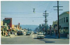 Reseda Blvd looking south from Sherman Way in the city of Reseda, CA circa 1950's
