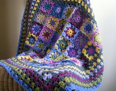 Heather Crochet Blanket Kaleidoscope Flower Granny Squares Afghan