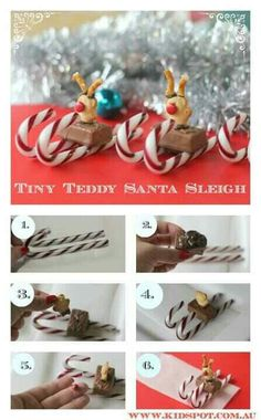 Tiny teddys on a candy cane sleigh!