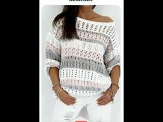 Knitting Patterns, Pullover, Crochet, Womens Fashion, Sweaters, Youtube, Beautiful, How To Knit, Crochet Clothes