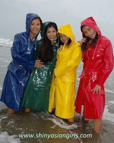Blue, Green, Yellow and Red PVC Hooded Raincoats