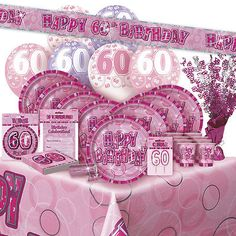 Age #60/60th birthday pink glitz #party #range (balloon/decoration/banner/napkins,  View more on the LINK: http://www.zeppy.io/product/gb/2/142069312313/